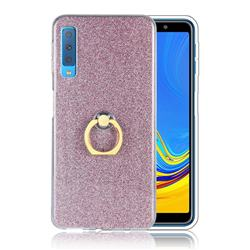 Luxury Soft TPU Glitter Back Ring Cover with 360 Rotate Finger Holder Buckle for Samsung Galaxy A7 (2018) A750 - Pink