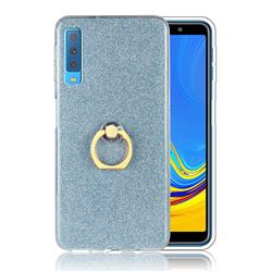 Luxury Soft TPU Glitter Back Ring Cover with 360 Rotate Finger Holder Buckle for Samsung Galaxy A7 (2018) A750 - Blue