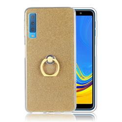 Luxury Soft TPU Glitter Back Ring Cover with 360 Rotate Finger Holder Buckle for Samsung Galaxy A7 (2018) A750 - Golden