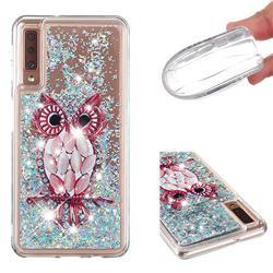 Seashell Owl Dynamic Liquid Glitter Quicksand Soft TPU Case for Samsung Galaxy A7 (2018) A750