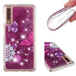Purple Flower Butterfly Dynamic Liquid Glitter Quicksand Soft TPU Case for Samsung Galaxy A7 (2018) A750
