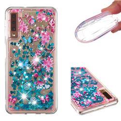 Blue Plum Blossom Dynamic Liquid Glitter Quicksand Soft TPU Case for Samsung Galaxy A7 (2018) A750