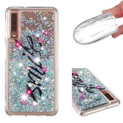 Smile Flower Dynamic Liquid Glitter Quicksand Soft TPU Case for Samsung Galaxy A7 (2018) A750