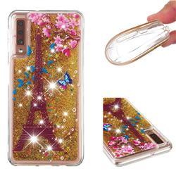 Golden Tower Dynamic Liquid Glitter Quicksand Soft TPU Case for Samsung Galaxy A7 (2018) A750