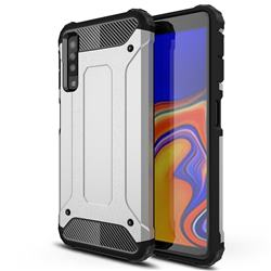 King Kong Armor Premium Shockproof Dual Layer Rugged Hard Cover for Samsung Galaxy A7 (2018) A750 - Technology Silver