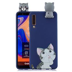 Big Face Cat Soft 3D Climbing Doll Soft Case for Samsung Galaxy A7 (2018) A750