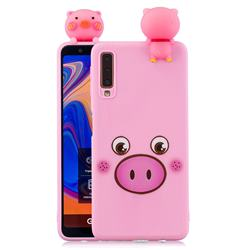Small Pink Pig Soft 3D Climbing Doll Soft Case for Samsung Galaxy A7 (2018) A750