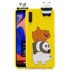 Striped Bear Soft 3D Climbing Doll Soft Case for Samsung Galaxy A7 (2018) A750