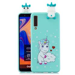 Heart Unicorn Soft 3D Climbing Doll Soft Case for Samsung Galaxy A7 (2018) A750