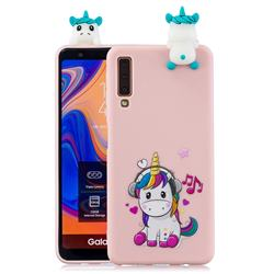 Music Unicorn Soft 3D Climbing Doll Soft Case for Samsung Galaxy A7 (2018) A750