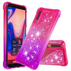 Rainbow Gradient Liquid Glitter Quicksand Sequins Phone Case for Samsung Galaxy A7 (2018) A750 - Pink Purple