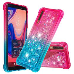 Rainbow Gradient Liquid Glitter Quicksand Sequins Phone Case for Samsung Galaxy A7 (2018) A750 - Pink Blue