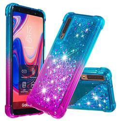 Rainbow Gradient Liquid Glitter Quicksand Sequins Phone Case for Samsung Galaxy A7 (2018) A750 - Blue Purple
