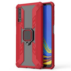 Predator Armor Metal Ring Grip Shockproof Dual Layer Rugged Hard Cover for Samsung Galaxy A7 (2018) A750 - Red