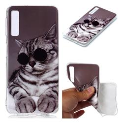 Kitten with Sunglasses Soft TPU Cell Phone Back Cover for Samsung Galaxy A7 (2018) A750