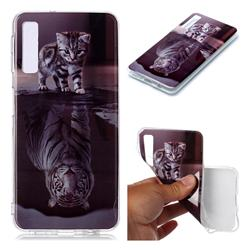 Cat and Tiger Soft TPU Cell Phone Back Cover for Samsung Galaxy A7 (2018) A750