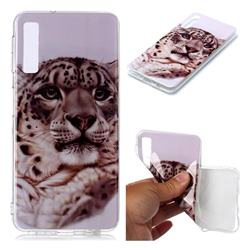 White Leopard Soft TPU Cell Phone Back Cover for Samsung Galaxy A7 (2018) A750