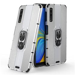 Alita Battle Angel Armor Metal Ring Grip Shockproof Dual Layer Rugged Hard Cover for Samsung Galaxy A7 (2018) A750 - Silver