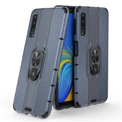 Alita Battle Angel Armor Metal Ring Grip Shockproof Dual Layer Rugged Hard Cover for Samsung Galaxy A7 (2018) A750 - Blue