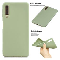 Soft Matte Silicone Phone Cover for Samsung Galaxy A7 (2018) A750 - Bean Green