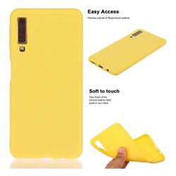 Soft Matte Silicone Phone Cover for Samsung Galaxy A7 (2018) A750 - Yellow