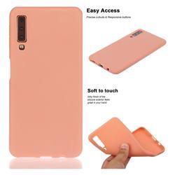 Soft Matte Silicone Phone Cover for Samsung Galaxy A7 (2018) A750 - Coral Orange