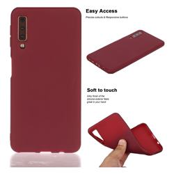 Soft Matte Silicone Phone Cover for Samsung Galaxy A7 (2018) A750 - Wine Red