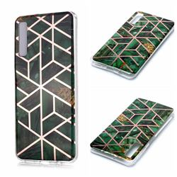 Green Rhombus Galvanized Rose Gold Marble Phone Back Cover for Samsung Galaxy A7 (2018) A750