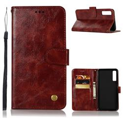 Luxury Retro Leather Wallet Case for Samsung Galaxy A7 (2018) - Wine Red