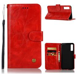 Luxury Retro Leather Wallet Case for Samsung Galaxy A7 (2018) - Red