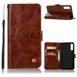 Luxury Retro Leather Wallet Case for Samsung Galaxy A7 (2018) - Brown