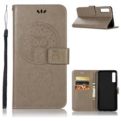 Intricate Embossing Owl Campanula Leather Wallet Case for Samsung Galaxy A7 (2018) - Grey