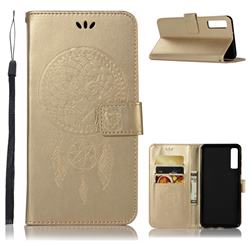 Intricate Embossing Owl Campanula Leather Wallet Case for Samsung Galaxy A7 (2018) - Champagne