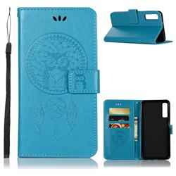 Intricate Embossing Owl Campanula Leather Wallet Case for Samsung Galaxy A7 (2018) - Blue