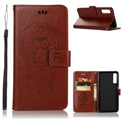 Intricate Embossing Owl Campanula Leather Wallet Case for Samsung Galaxy A7 (2018) - Brown