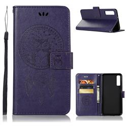 Intricate Embossing Owl Campanula Leather Wallet Case for Samsung Galaxy A7 (2018) - Purple