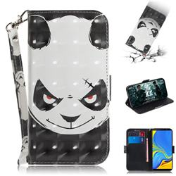 Angry Bear 3D Painted Leather Wallet Phone Case for Samsung Galaxy A7 (2018)