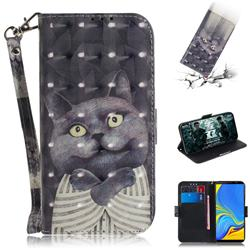 Cat Embrace 3D Painted Leather Wallet Phone Case for Samsung Galaxy A7 (2018)