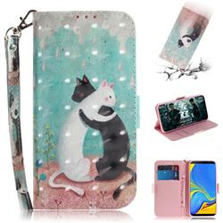 Black and White Cat 3D Painted Leather Wallet Phone Case for Samsung Galaxy A7 (2018)