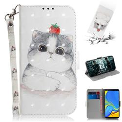 Cute Tomato Cat 3D Painted Leather Wallet Phone Case for Samsung Galaxy A7 (2018)
