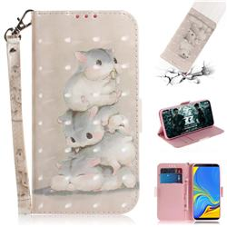 Three Squirrels 3D Painted Leather Wallet Phone Case for Samsung Galaxy A7 (2018)