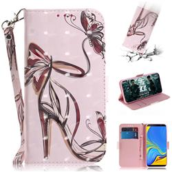 Butterfly High Heels 3D Painted Leather Wallet Phone Case for Samsung Galaxy A7 (2018)