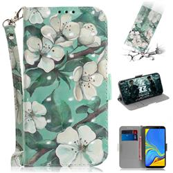 Watercolor Flower 3D Painted Leather Wallet Phone Case for Samsung Galaxy A7 (2018)