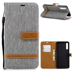 Jeans Cowboy Denim Leather Wallet Case for Samsung Galaxy A7 (2018) - Gray