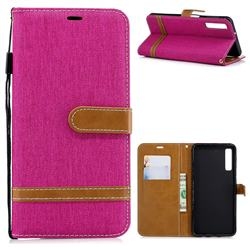 Jeans Cowboy Denim Leather Wallet Case for Samsung Galaxy A7 (2018) - Rose