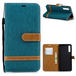 Jeans Cowboy Denim Leather Wallet Case for Samsung Galaxy A7 (2018) - Green