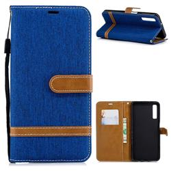 Jeans Cowboy Denim Leather Wallet Case for Samsung Galaxy A7 (2018) - Sapphire