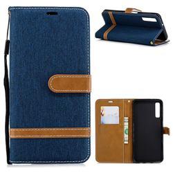 Jeans Cowboy Denim Leather Wallet Case for Samsung Galaxy A7 (2018) - Dark Blue