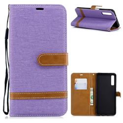 Jeans Cowboy Denim Leather Wallet Case for Samsung Galaxy A7 (2018) - Purple