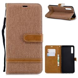 Jeans Cowboy Denim Leather Wallet Case for Samsung Galaxy A7 (2018) - Brown